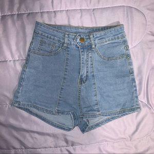 High Waist Solid Denim Shorts